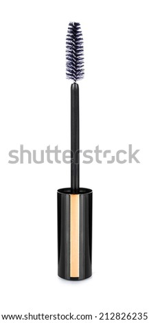 mascara brush on an isolated white background - stock photo