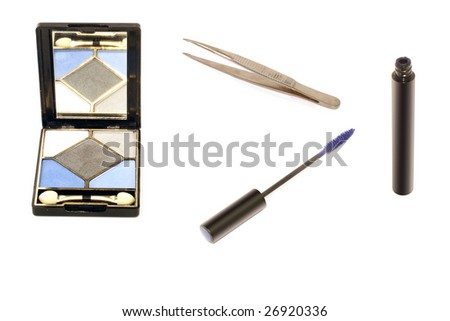 mascara, tweezers and eyeshadow under the white background