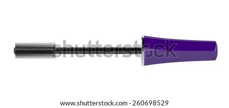 Mascara wand isolated on white background - stock photo