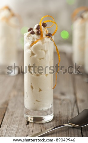 Mascarpone white chocolate mousse with orange zest - stock photo