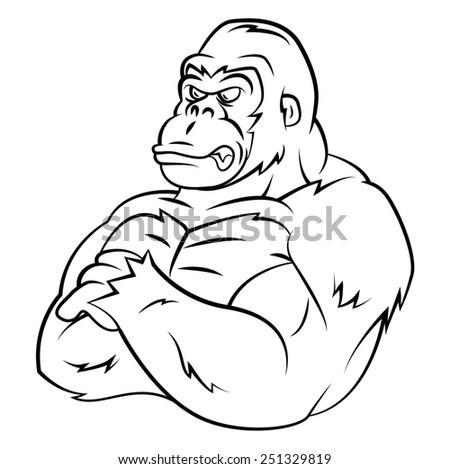 Mascot Gorilla Strong - stock photo