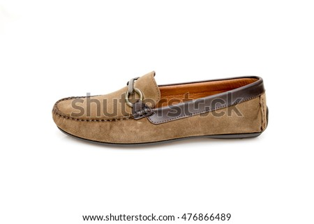 masculine shoe with note 50 euros on white background