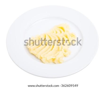 Mashed potato puree. Isolated on a white background. - stock photo