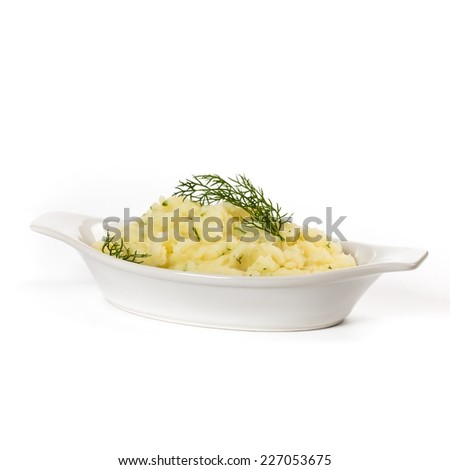 Mashed potato with dill. Selective focus. - stock photo