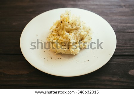 Mashed potatoes on the plate