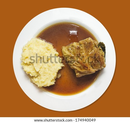 Mashed potatoes with cabbage rolls and sauce , isolated on brown  - stock photo