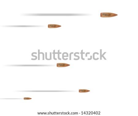 mashine gun burst with traces over white - stock photo
