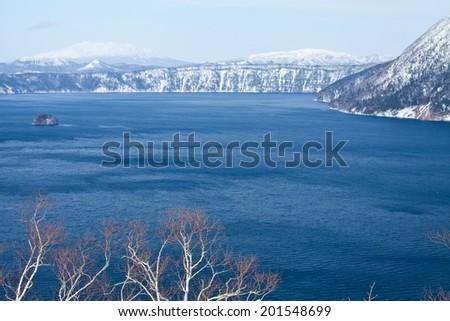mashu lake, in early spring, Hokkaido, Japan - stock photo