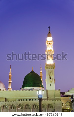 Masjid Al Nabawi or Nabawi Mosque (Mosque of the Prophet) at sunrise in Medina (City of Lights), Saudi Arabia.Nabawi mosque is Islam's second holiest mosque after Haram Mosque (in Mecca, Saudi Arabia) - stock photo