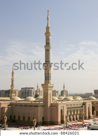 Masjid Al Nabawi or Nabawi Mosque (Mosque of the Prophet) in Medina (City of Lights), Saudi Arabia. Nabawi mosque is Islam's second holiest mosque after Haram Mosque (in Mecca, Saudi Arabia). - stock photo