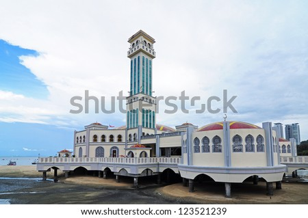 Masjid Kapitan Keling Mosque (Floating Mosque), Georgetown, Penang. Malaysia - stock photo