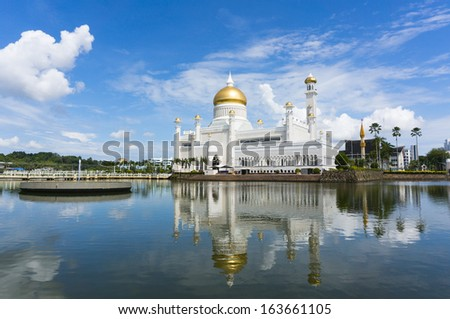 Masjid Sultan Omar Ali Saifuddin Mosque in Bandar Seri Begawan, Brunei Darussalam. Brunei plan to implement sharia law soon. - stock photo