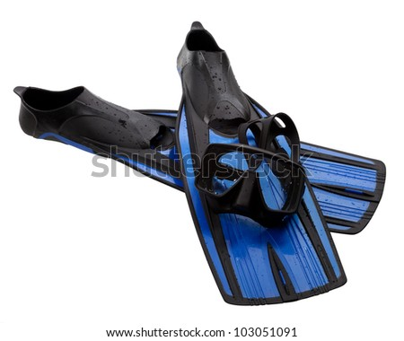Mask and flippers with water drops. Diving gear isolated on white background. - stock photo