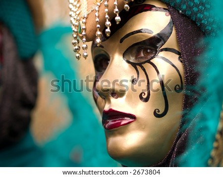 Mask at Venice Carnival - stock photo