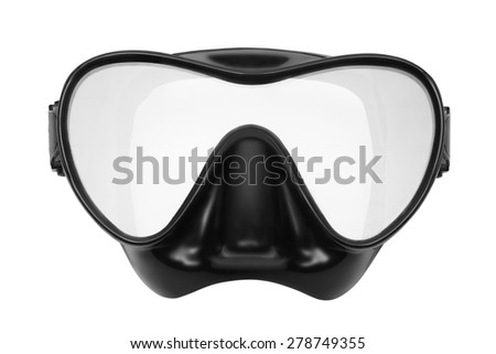 Mask for snorkeling and diving. Isolated on white background. - stock photo