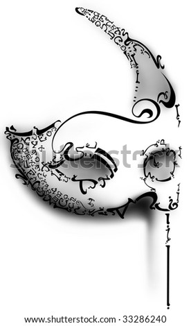 Mask from letters - stock photo