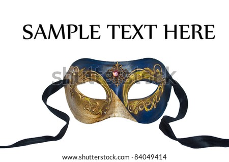 Mask from Venice isolated on white - stock photo