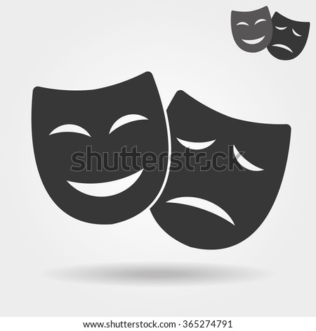 Mask icon/Theater icon with happy and sad masks - stock photo