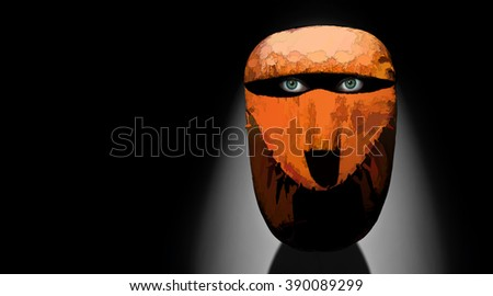 Mask illustration, your text on the left side - stock photo