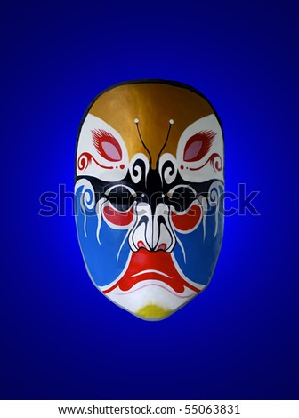 mask of opera with blue isolated background