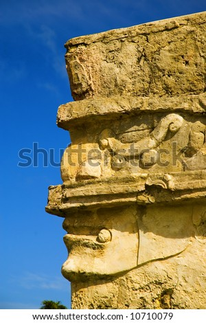 Mask on the walls of Tulum - stock photo