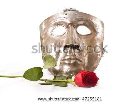 mask with rose - stock photo