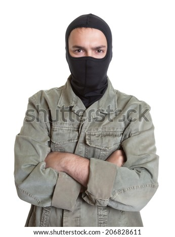 Masked burglar with crossed arms - stock photo