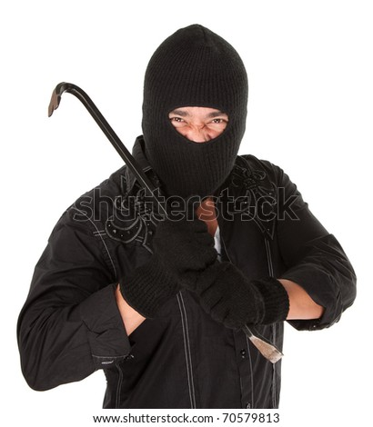Masked criminal holding a crowbar on white background - stock photo