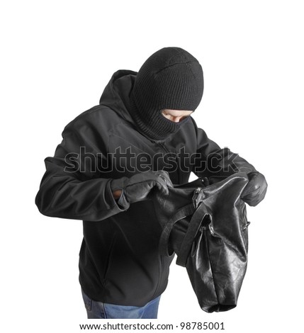Masked criminal holding a stolen handbag, isolated on white - stock photo