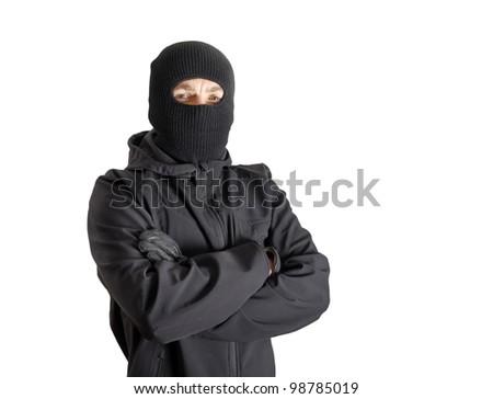 Masked criminal, isolated on white - stock photo