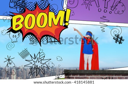 Masked girl pretending to be superhero against the word boom - stock photo