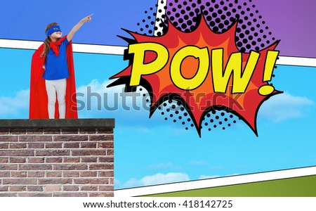 Masked girl pretending to be superhero against the word pow - stock photo