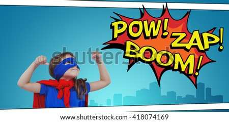 Masked girl pretending to be superhero against the words pow, zap and boom - stock photo
