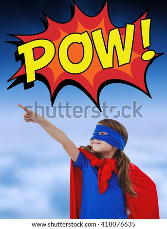 Masked girl pretending to be superhero against white clouds under blue sky - stock photo