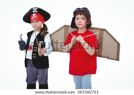 Masked kids pretending to be pirate and pilot on white screen - stock photo