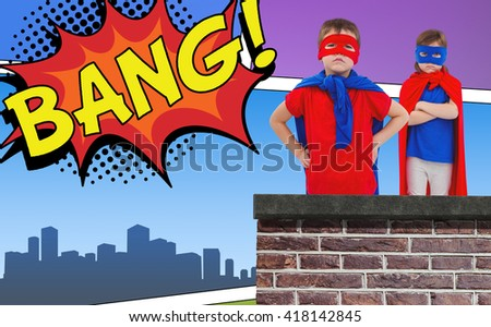 Masked kids pretending to be superheroes against the word bang - stock photo