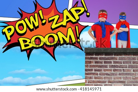 Masked kids pretending to be superheroes against the words pow, zap and boom - stock photo