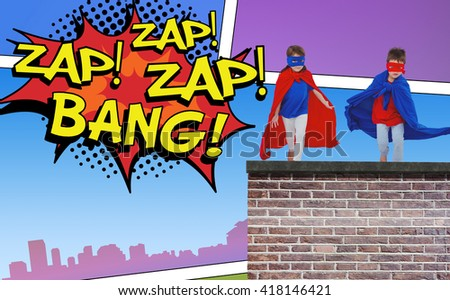 Masked kids running pretending to be superheroes against the words zap and bang - stock photo