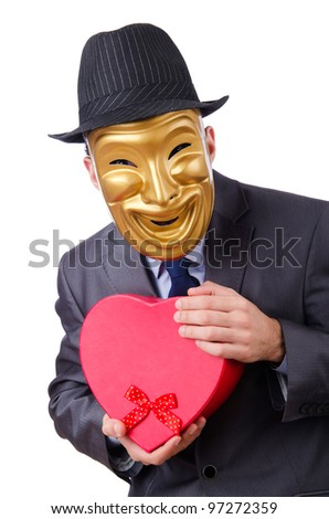 Masked man with giftbox on white