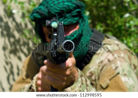 masked shooter, terrorist - stock photo