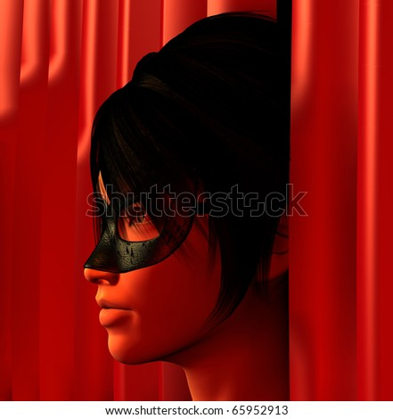 Masked woman and red curtains 3d illustration. - stock photo