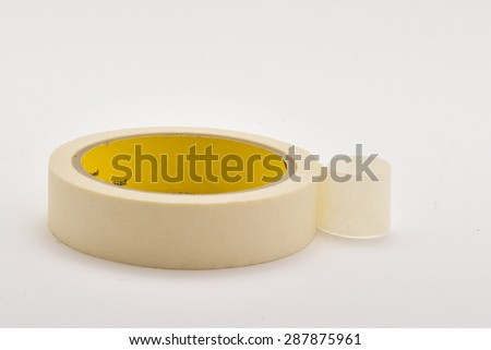 Masking tape,adhesive tape used in painting to cover areas on which paint is not wanted. - stock photo