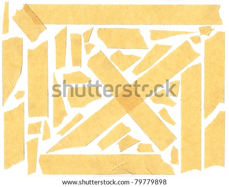 masking tape - isolated grunge stick adhesive piece paper scotch stains edge - stock photo