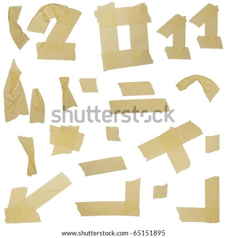 masking tape labels isolated on white background - stock photo