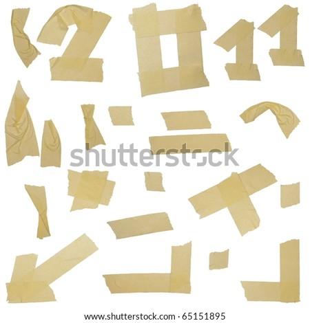 masking tape labels isolated on white background - stock photo