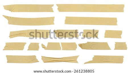 Masking tape textures. Isolated on white background.