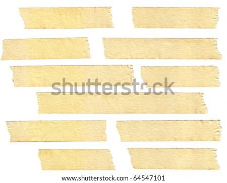 masking tape textures with varied length, isolated on white, set 1 of 2. - stock photo