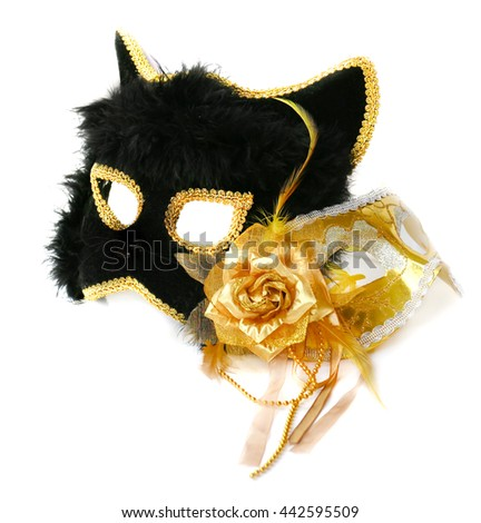 Masks Golden with the flower of taffeta and fluffy black cat for carnival or theater - stock photo