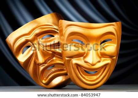 Masks with the theater concept - stock photo