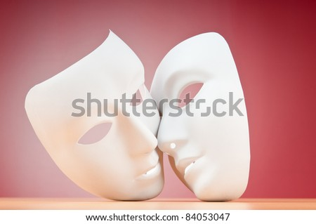Masks with theater concept - stock photo